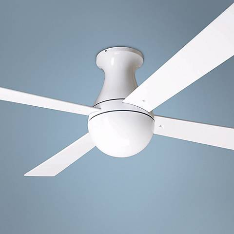 "52"" Modern Fan Ball Hugger Gloss White Ceiling Fan"