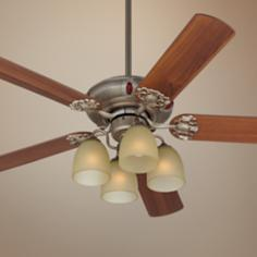 "52"" Casa Lucida Tea Glass Aged Pewter Ceiling Fan"