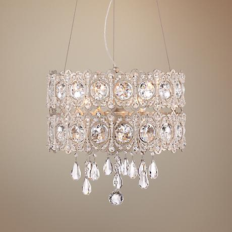 "Silver Leaf Hatbox 14  3/4"" Wide Crystal Pendant Light"