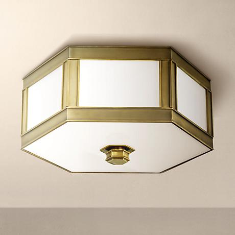 "Nassau Aged Brass 13"" Wide Ceiling Light"