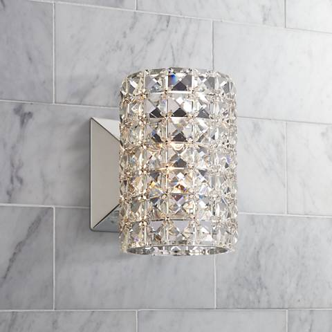 "Vienna Full Spectrum Crystal Cylinder 6 1/2"" High Sconce"
