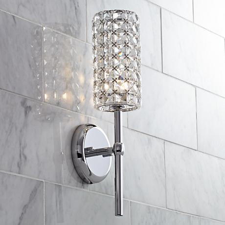 crystal cylinder 16 high chrome wall sconce y6862