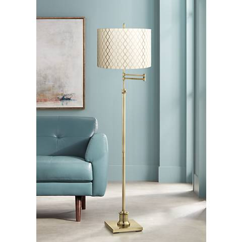 Westbury Embroidered Hourglass Brass Swing Arm Floor Lamp