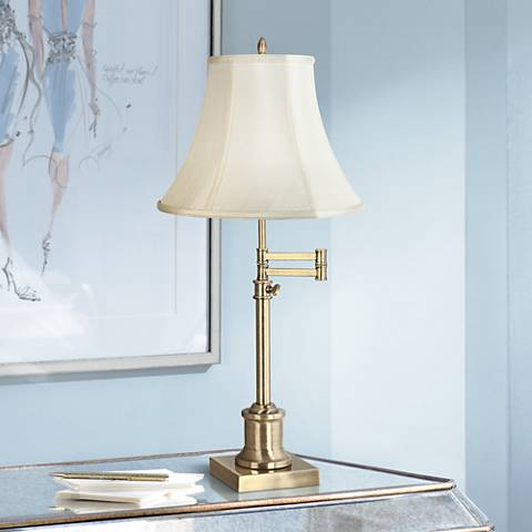 Westbury Imperial Creme Bell Brass Swing Arm Desk Lamp