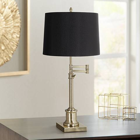 Westbury Black Drum Shade Brass Swing Arm Desk Lamp