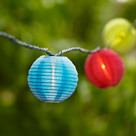 Solar Powered Paper Globe Lantern LED String Light Set