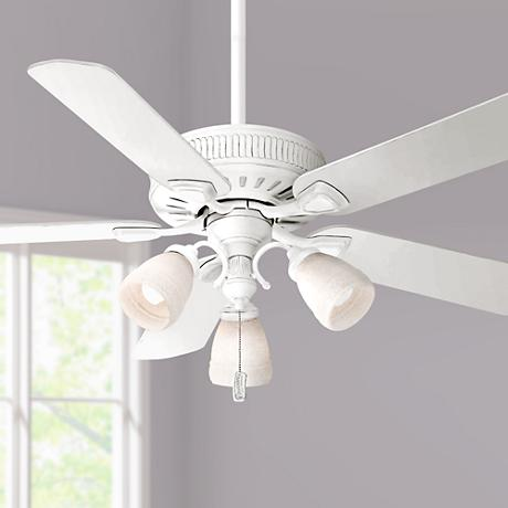 "54"" Ainsworth Gallery Three-Light Cottage White Ceiling Fan"