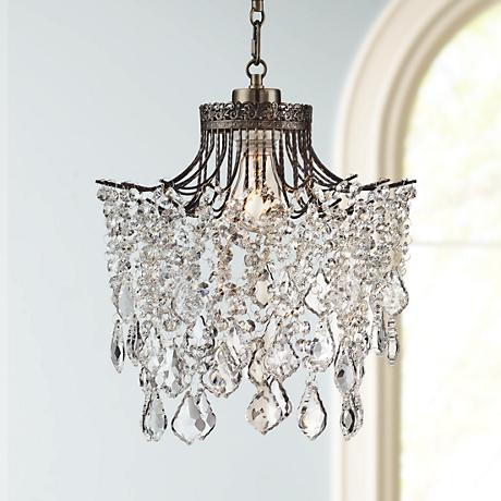 "Brielle Antique Brass 12"" Wide Crystal Plug-In Swag Pendant"