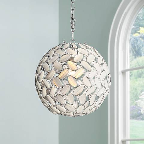 "Kaia Frosted Beads 12"" Wide Chrome Plug-In Swag Pendant"