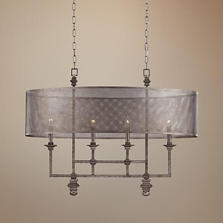 "Savoy House Structure 34 1/2""W Aged Steel Oval Chandelier"