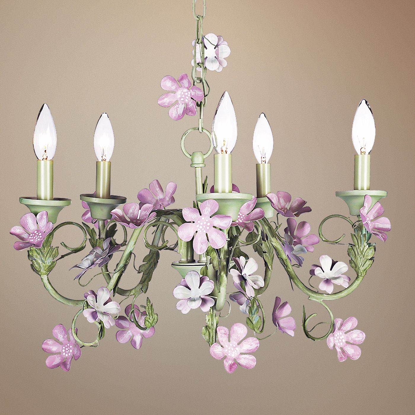 pink flowers with green 5light chandelier
