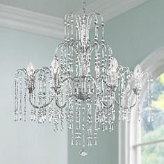 crystal rain 29 wide 6 light crystal chandelier - Dining Room Crystal Lighting