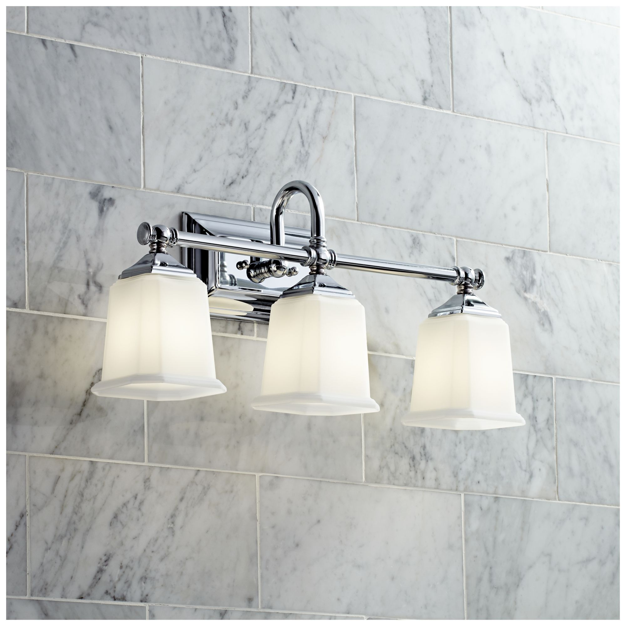 Quoizel TRG8603 Trilogy 3 Light Bathroom Vanity Light. Nicholas Collection  Polished Chrome 22