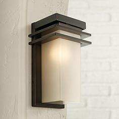 Bronze and Opal 12  High Rectangle Outdoor Wall LightOutdoor Wall Lights and Sconces   Entryway  Patio   More   Lamps Plus. Contemporary Exterior Wall Lights Uk. Home Design Ideas
