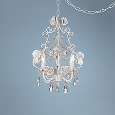White Fl With Crystal Accents Plug In Swag Chandelier