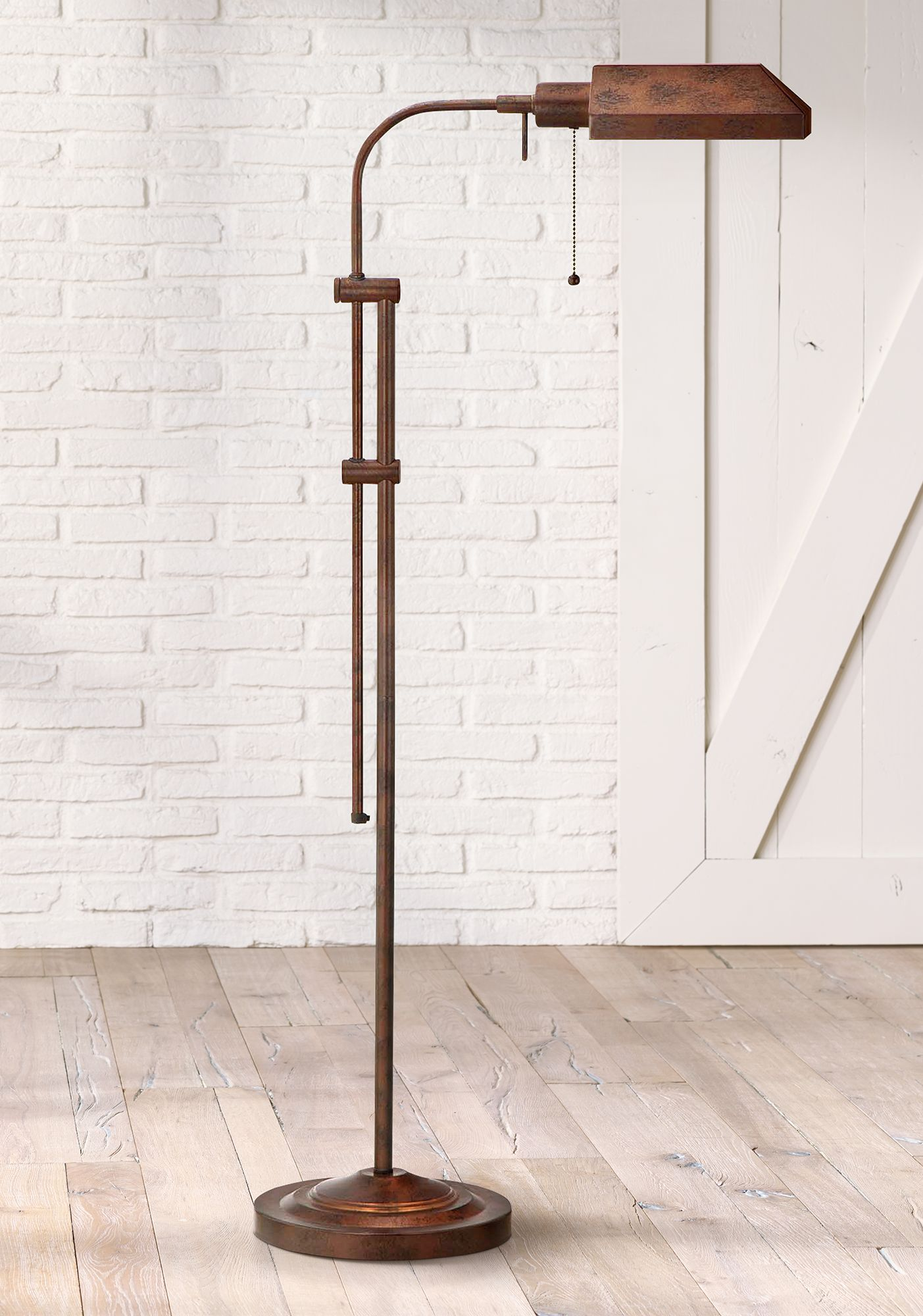 rust adjustable pole pharmacy metal floor lamp - Pole Lamps