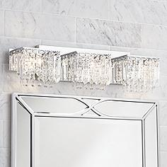 Possini Euro Design Crystal Strand 25 3 4  Wide Bath Light Bathroom Fixtures Vanity Lights Lamps Plus