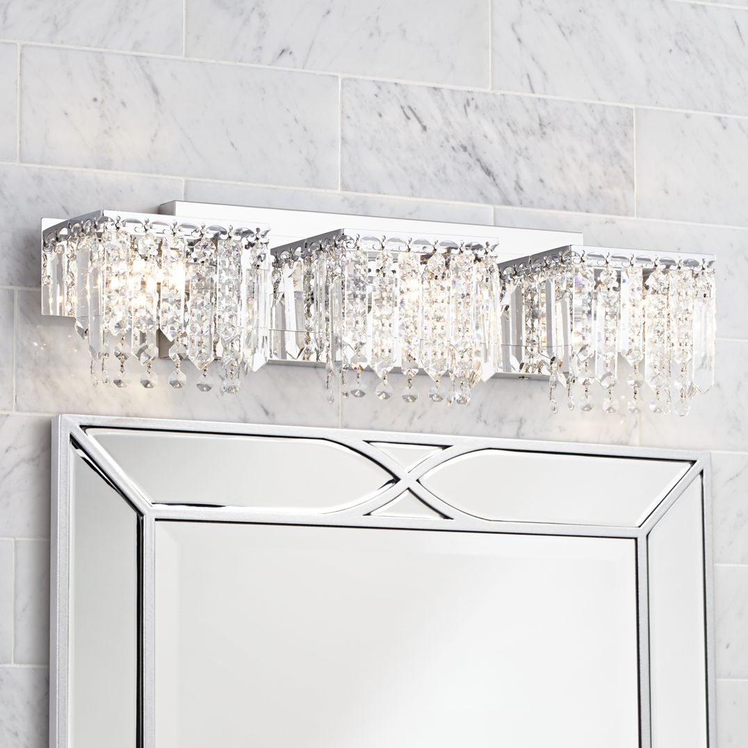 Possini Euro Design Crystal Strand 25 3/4  Wide Bath Light  sc 1 st  L&s Plus & Bathroom Light Fixtures u0026 Vanity Lights | Lamps Plus azcodes.com