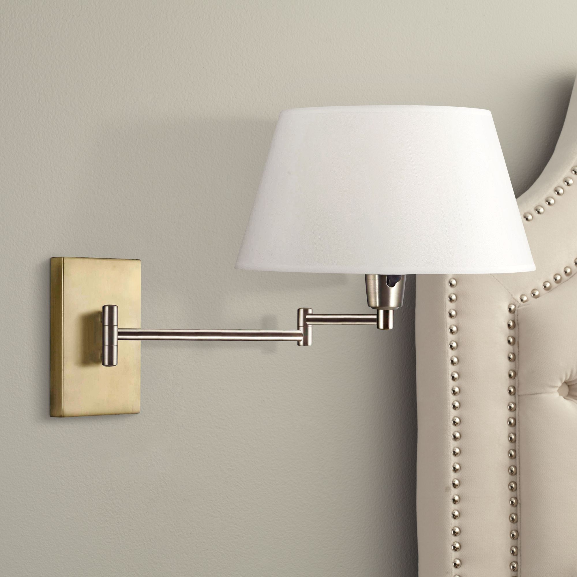 kenroy element vintage brass swing arm plugin wall light