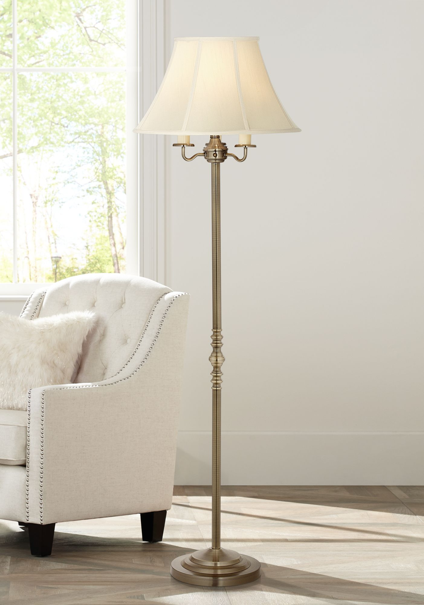 montebello antique brass floor lamp by regency hill