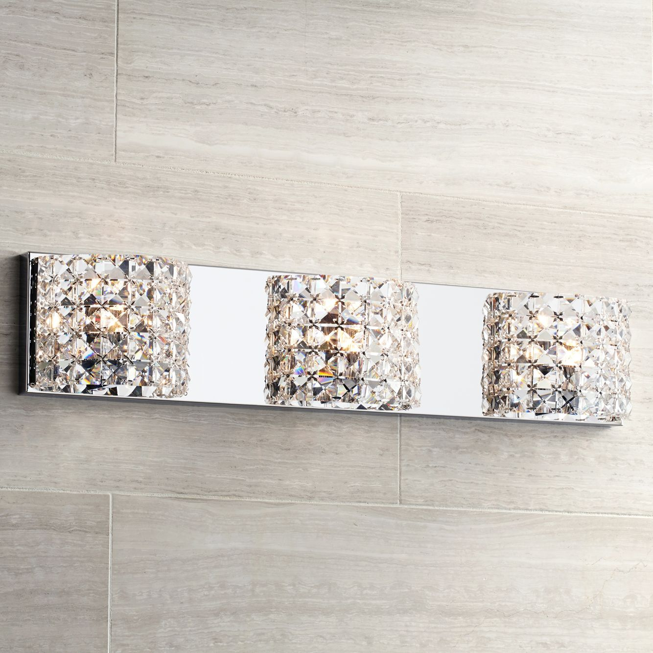 Cesenna 3-Light 25 1/2  Wide Crystal Bath Light & Crystal Bathroom Lighting | Lamps Plus azcodes.com