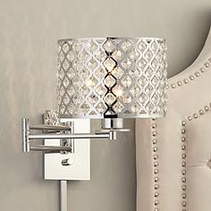 possini euro glitz 9 wide plug in swing arm wall lamp - Designer Wall Lamps
