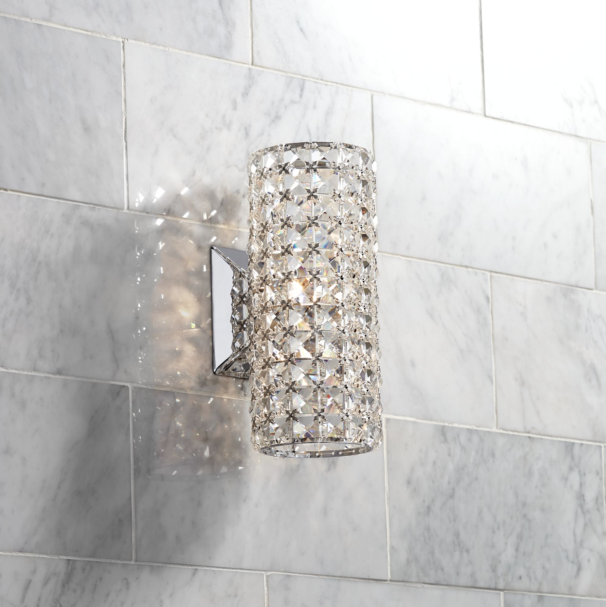 Crystal wall sconce bathroom my web value crystal cylinder 10 14 aloadofball
