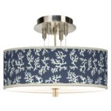 "Brushed Steel 14"" Wide Semi-Flushmount Ceiling Light"