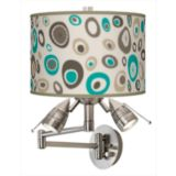 Brushed Steel Bullet-Head Plug-In Swing Arm Wall Light