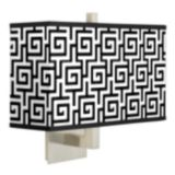 "Brushed Steel Finish 14"" Wide Rectangular Wall Sconce"