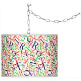 "Giclee Glow Brushed Silver 13 1/2"" Wide Plug-In Swag Pendant"