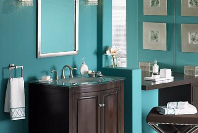 Transform your bath with a contemporary pop of color and bright lighting.