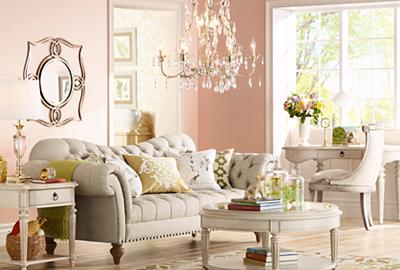 This graceful room features vintage-inspired furniture and lighting.