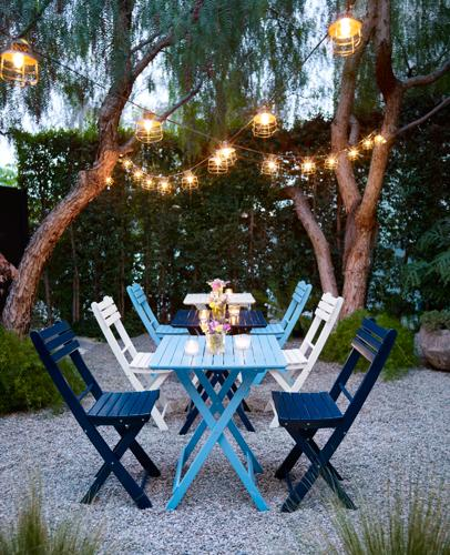 outdoor seating, patio string lights, solar powered led lights