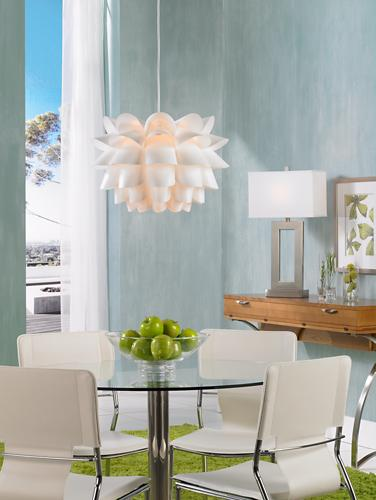 Contemporary dining room scene.