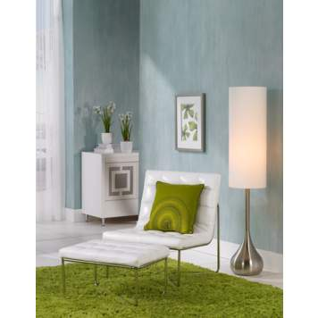 The light blue and vibrant green color scheme creates a playful room scene.