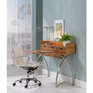 A comfortable and modern office space with a multi-task desk lamp - and a view!