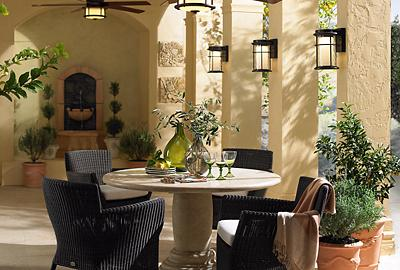 Get that Mediterranean feel with fans, fountains and foliage.