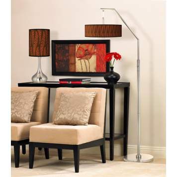 A contemporary living room picture featuring giclee lamps.