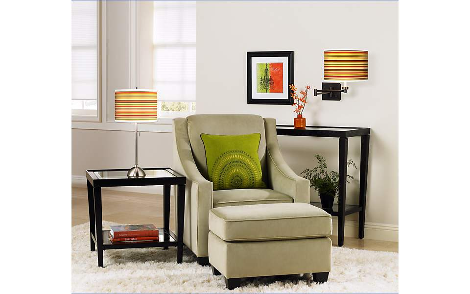 Stacy Garcia, stripe light fixtures, living room décor, neutral décor, green ac