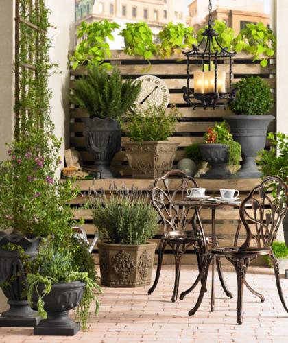 patio, backyard, outdoor seating, chandelier, planter