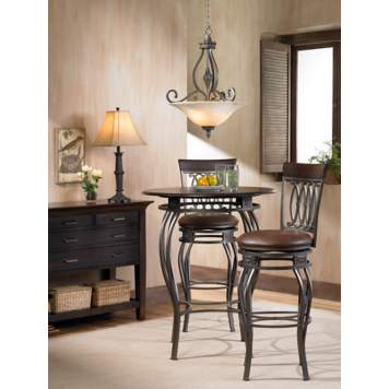 The cafe table and barstools create the perfect setting for casual dining.