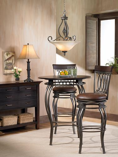 Cafe table and barstools casual dining picture.