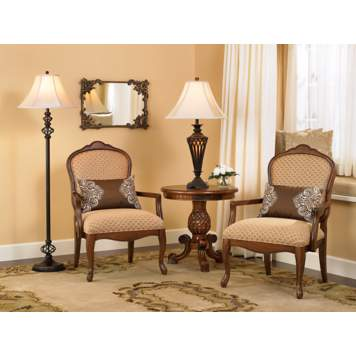 Symmetry is created with the matching Jacqueline accent chairs.
