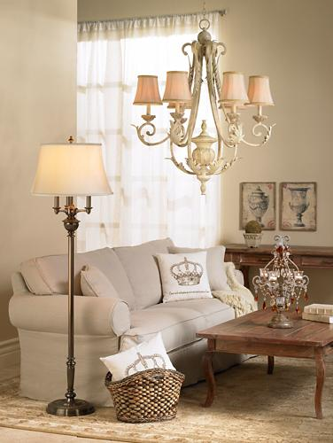 chic living room, pale hues, weathered wood furniture, Kathy Ireland 36