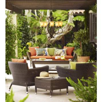 Lounge all the year-round by the light of an outdoor rated chandelier.