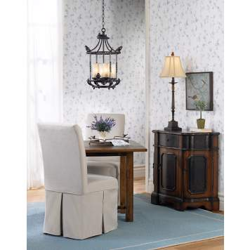The vintage country room scene incorporates bird motifs as a style element.