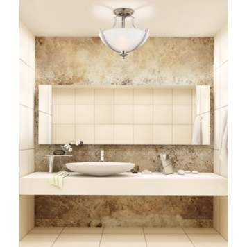 A flushmount fixture complements this chic contemporary bathroom picture.