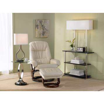 The black triple shelf etagere floor lamp stands out in the corner vignette.