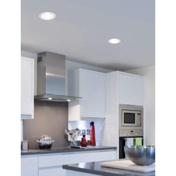 Chic white recessed lights illuminate this contemporary kitchen picture.